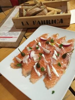 Salmon at La Fabrica de Besana Seville