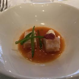 Tuna in citrusy tomato soup at Casa Gerardo